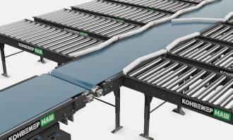 Сортировочный конвейер с поворотными руками
